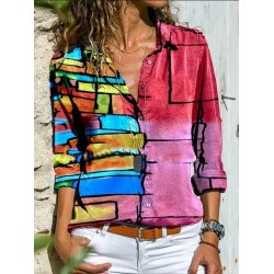 Color Block Long Sleeve Shirt