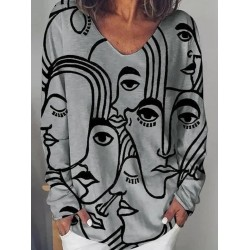 Long sleeve abstract loose print T-shirt