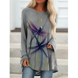 Printed casual loose color dragonfly T-shirt