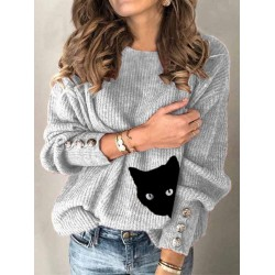 Button cat print casual crew neck sweater