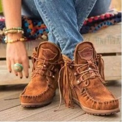 Comfortable Fringed Lace-up Ankle Boots