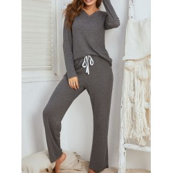 Simple And Comfortable V-Neck Home Set