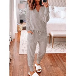 Casual V-Neck Long Sleeve Pocket Pants Set