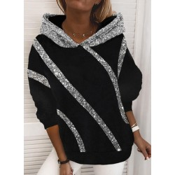 Loose Hooded Sequin Printed Sweatshirt