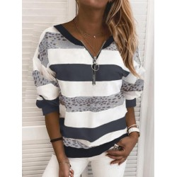 Women Stripe Casual Sweatshirt