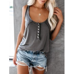 Casual Round Neck Sleeveless Single-Breasted Tank Top