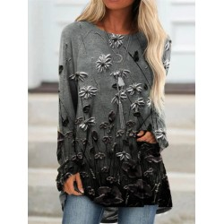 Vintage Floral Print Long Sleeve T-Shirt