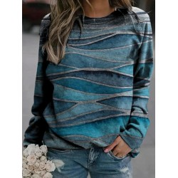 Gradient Print Long-Sleeved Round Neck Sweatshirt