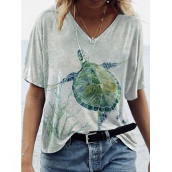 New Style Abstract Painting Turtle Print T-shirt