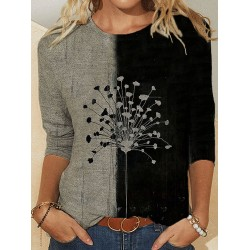 Floral Dandelions Print O-neck Casual T-Shirt