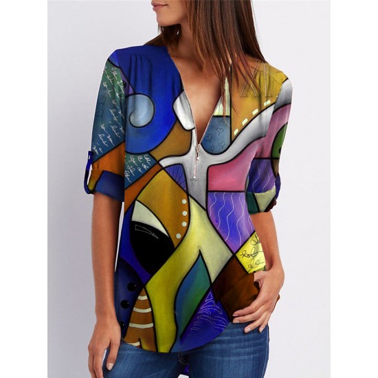 V-neck Ethnic style abstract color block Long Sleeve Blouses