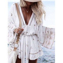 Fashion Casual Bell Sleeve Lace-Up Deep V Neck Romper