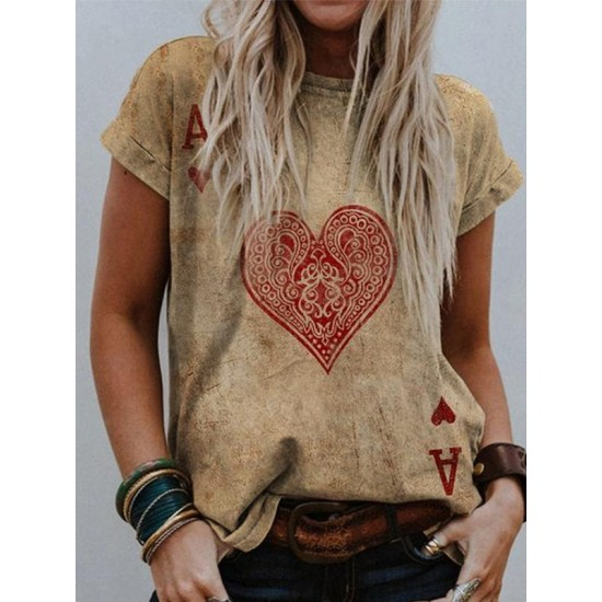 Womens Valentines Day unique heart-shaped faded T-shirt