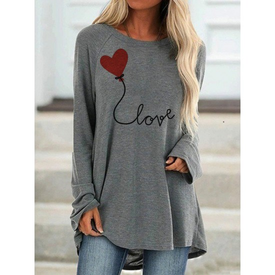 Women Valentine's Tees Long Sleeve Front Love Heart Printed T-Shirt