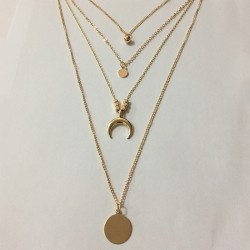 Women's Fashion Multilayer Moon Disc Necklace