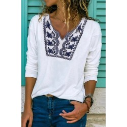 Casual Long Sleeve Pirnted T-Shirt
