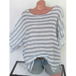 Round Neck  Loose Fitting  Striped Blouses
