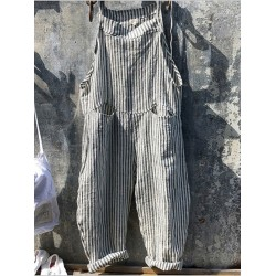 Womens striped casual loose jumpsuit
