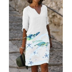 Ladies Summer Ocean Print V-Neck Dress