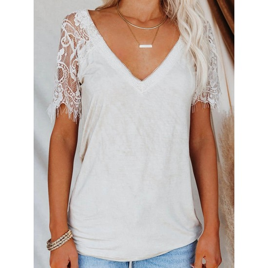Casual Lace Short Sleeve V-Neck T-Shirt