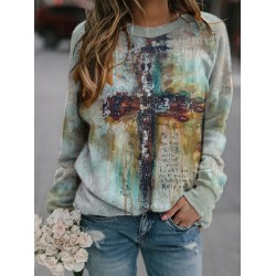 Loose casual tie dyed cross round neck sweater