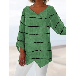 V-neck Striped Printed Loose Cotton And Linen Long-sleeved Blouse