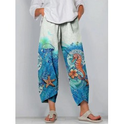 Womens seahorse ocean pattern loose casual cropped trousers