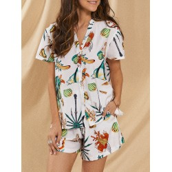 Women's seabed bio-print summer casual suit