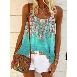Womens Casual Sleeveless Floral Printed Tank Tops