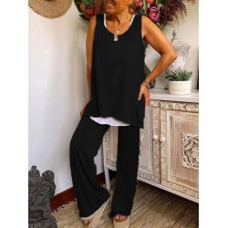 Womens fashion two-piece cotton casual suit