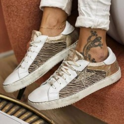 Women's Fashion Flat Sequined Lace-up Sneakers