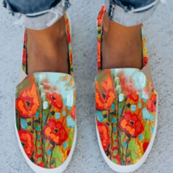 Womens floral hand-printed comfortable casual shoes