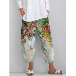 Womens casual floral print cropped trousers