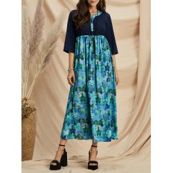 Women's printed five-point sleeve round neck dress