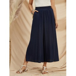 Womens solid color cropped wide-leg pants