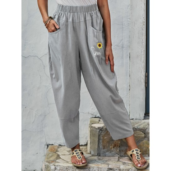 Womens Floral Print Casual Trousers