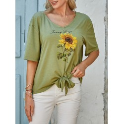 Womens floral print round neck short-sleeved T-shirt