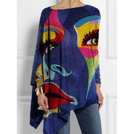Casual Abstract Printed Crew Neck T-shirt