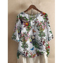 Fashion Loose Butterfly Print T-shirt